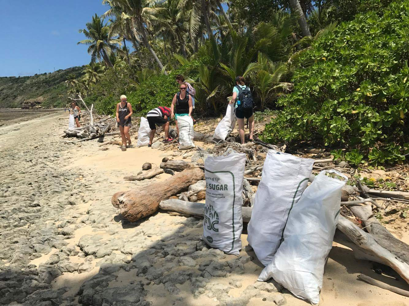 visitors keeping mantaray island clean